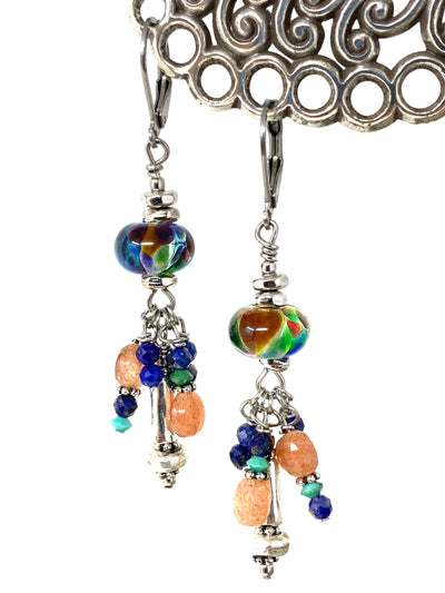 Lampwork Glass Multi-Color Beaded Dangle Earrings #1363E - Bead Dangle Design