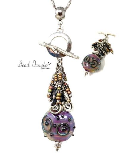 Lampwork Glass Swirl Interchangeable Beaded Pendant Necklace #3072D