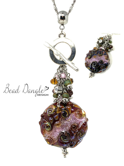 Fall Swirl Lampwork Glass Beaded Cluster Pendant Necklace #2414D - Bead Dangle Design