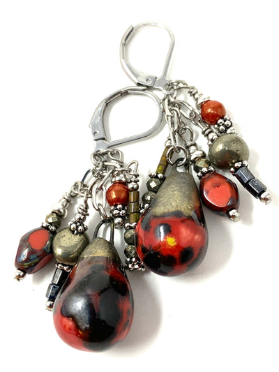 Crackled Ceramic Glass Beaded Dangle Earrings #1212E - Bead Dangle Design