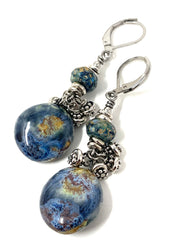 Boho Ceramic Glass Beaded Dangle Earrings #1283e - Bead Dangle Design