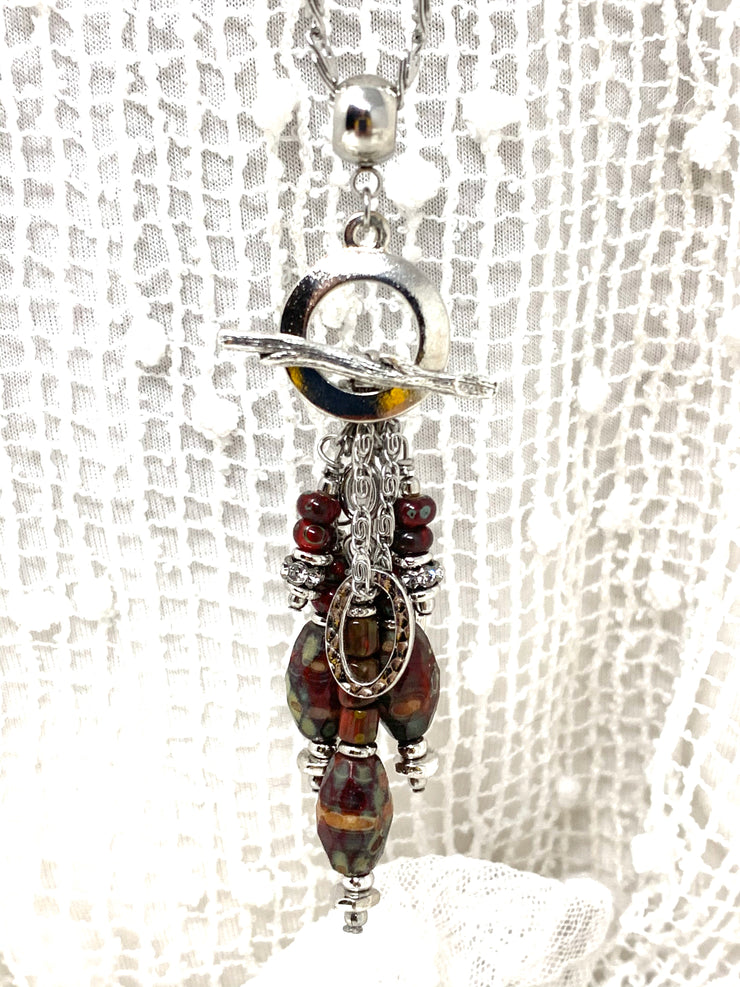 Unique Bohemian Czech Glass Beaded Cluster Pendant Necklace #2291D - Bead Dangle Design