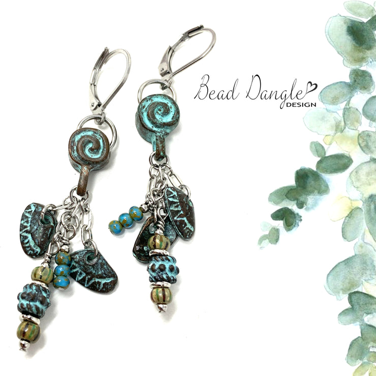 Boho Patina Swirl Beaded Dangle Earrings #1186E - Bead Dangle Design