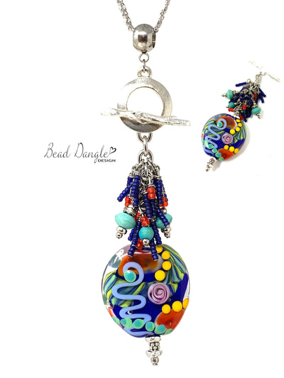 Colorful Floral Lampwork Glass Beaded Cluster Dangle Necklace #3230D - Bead Dangle Design