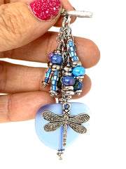 Dragonfly Blue Sea Glass Beaded Cluster Pendant Necklace #2298D - Bead Dangle Design