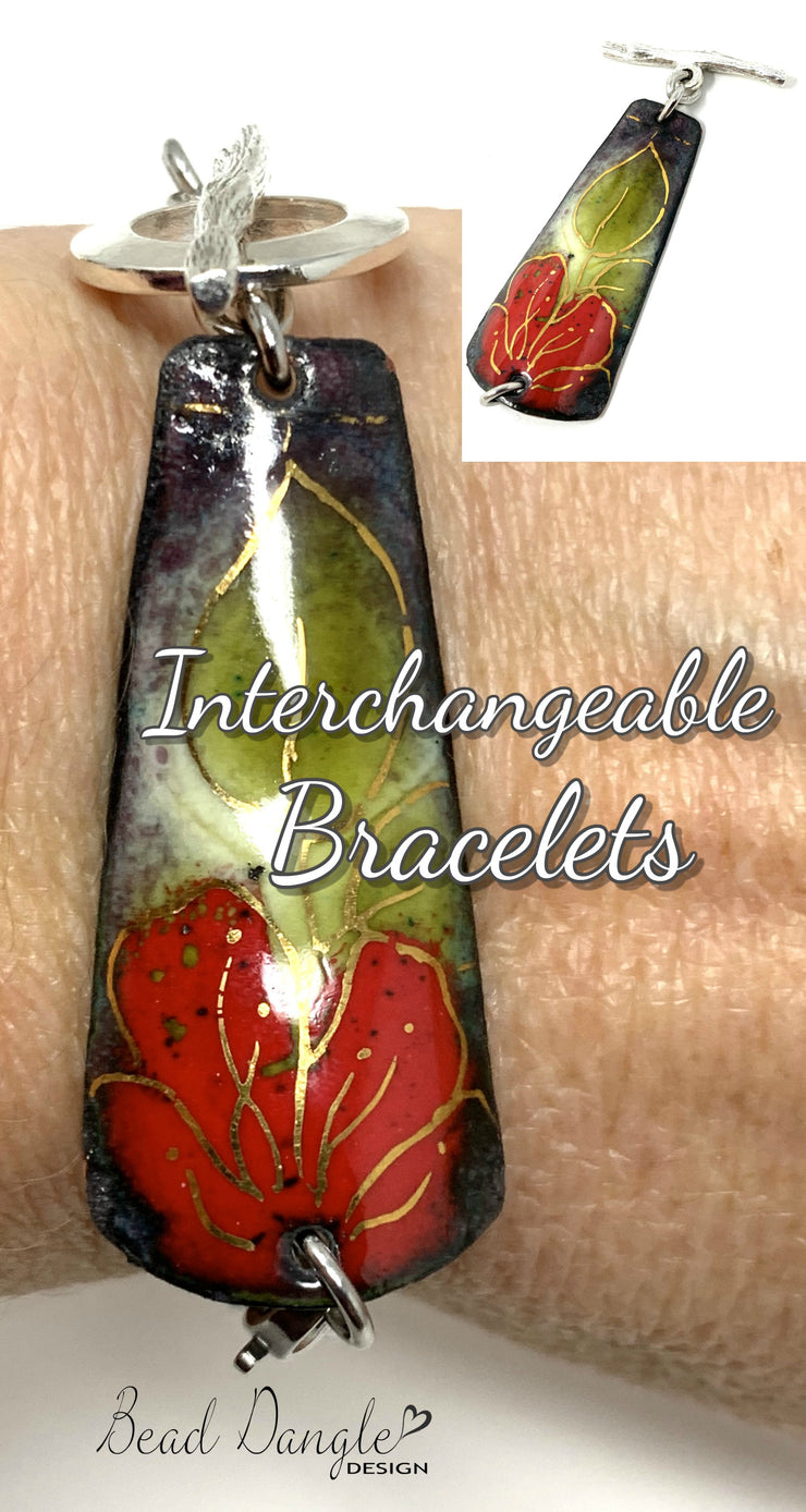 Hand-Painted Copper Enamel Interchangeable Dangle Bracelet Pendant #3105BC - Bead Dangle Design