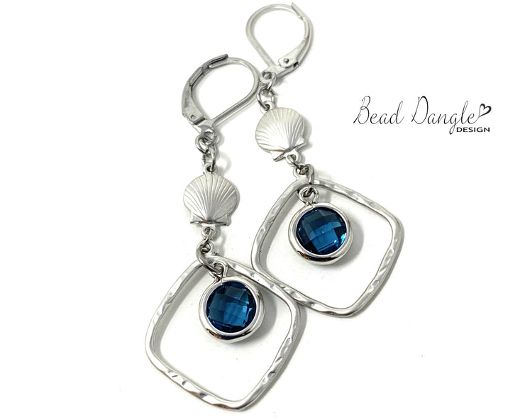 Blue Crystal Quartz Seashell Beaded Dangle Earrings #1195E - Bead Dangle Design