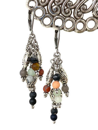 Mixed Gemstone Beaded Dangle Earrings #1383E