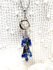 Blue Lapis Beaded Cluster Pendant Necklace #2638D - Bead Dangle Design