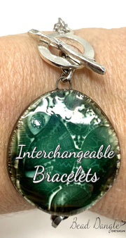Ceramic Green Interchangeable Dangle Bracelet Pendant #3104BC