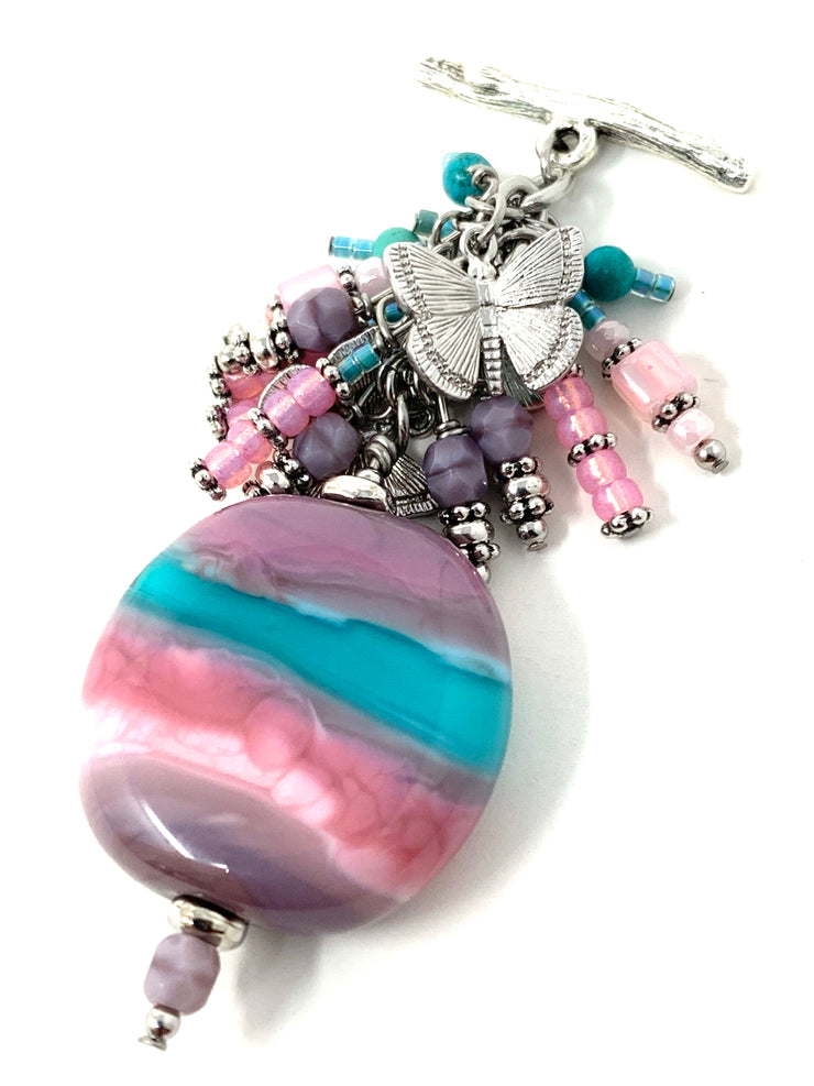 Summer Colorful Lampwork Glass Beaded Pendant Necklace #2351D - Bead Dangle Design
