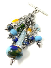 Baby Blue Swirl Lampwork Glass Beaded Cluster Pendant Necklace #22724D