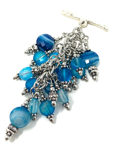 Blue Sky Faceted Agate Beaded Cluster Pendant Necklace #2642D