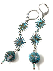 Patina Sun/Star Beaded Dangle Earrings #1206E - Bead Dangle Design