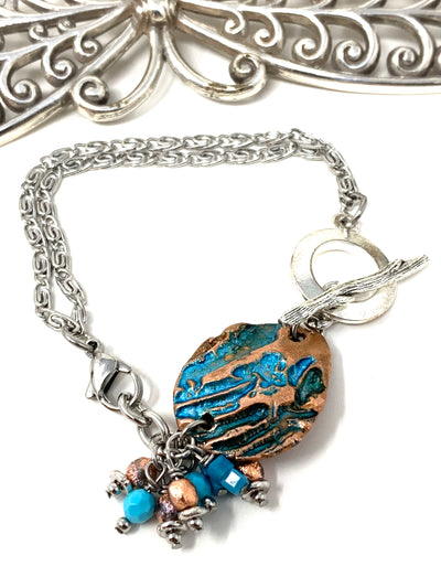 Boho-Chic Polymer Clay Embossed Interchangeable Dangle Bracelet Pendant #31072BC