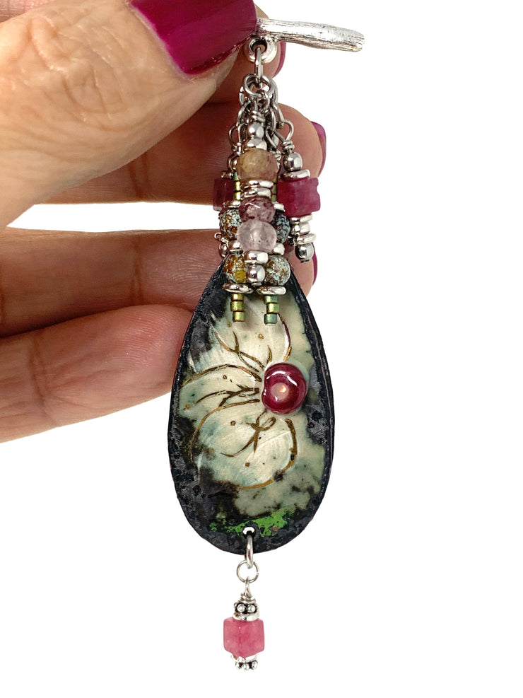 Hand-Painted Copper Enamel Floral Beaded Cluster Pendant #2629D - Bead Dangle Design