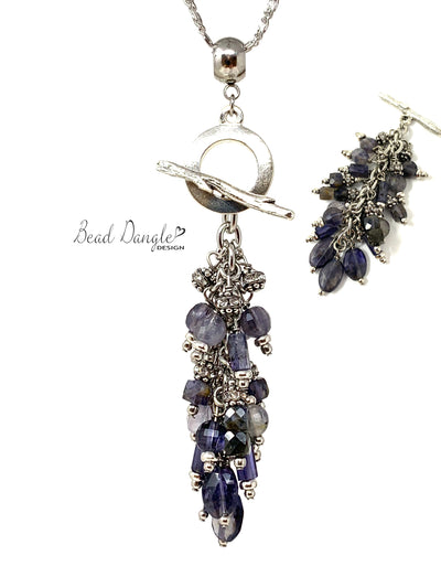 Purple Faceted Iolite Beaded Dangle Necklace #3205D - Bead Dangle Design