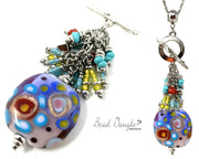 Colorful Lampwork Glass Beaded Pendant Necklace #2356D - Bead Dangle Design