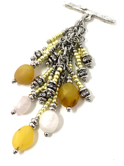 Yellow and White Matte Agate and Shimmer Seed Bead Cluster Dangle Pendant Necklace #2708D
