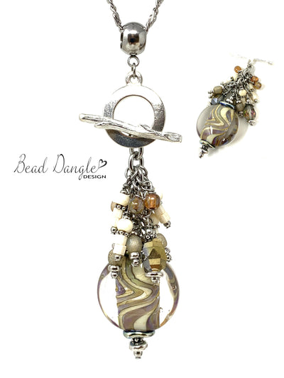Taupe Swirl Lampwork Glass Beaded Interchangeable Pendant Necklace #2442D - Bead Dangle Design
