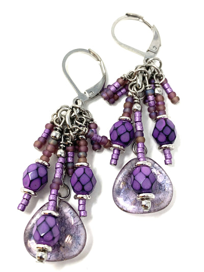 Czech Glass and Seed Beaded Dangle Cluster Earrings #1142E - Bead Dangle Design