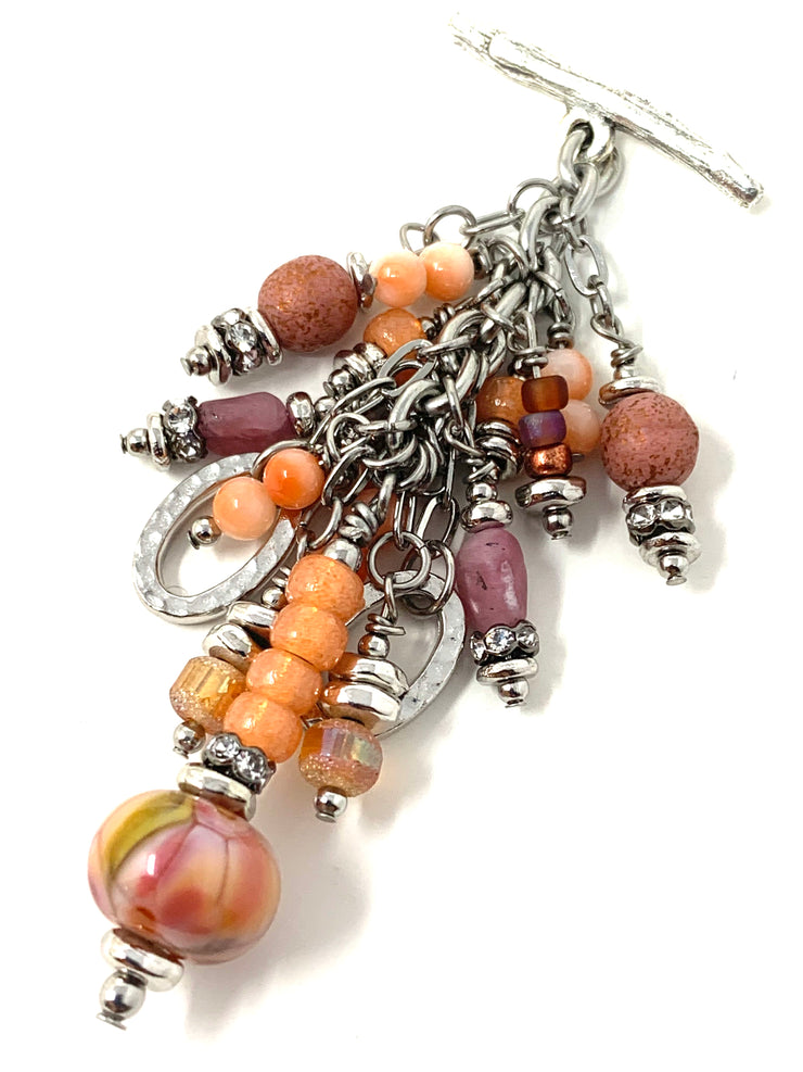 Peachy Lampwork Glass Beaded Cluster Dangle Pendant Necklace #22720D