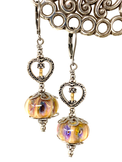 Handmade Lampwork Glass Heart Beaded Earrings #1428E - Bead Dangle Design