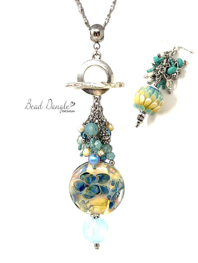 Floral Lampwork Glass Beaded Dangle Cluster Necklace #3242D - Bead Dangle Design