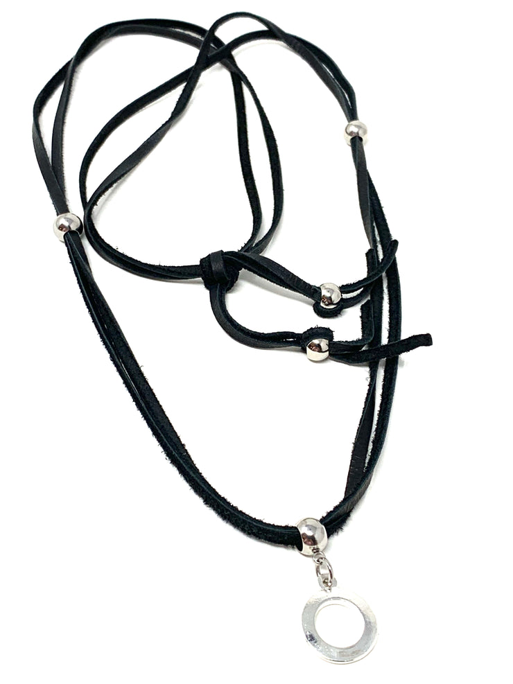 Soft Black Deer Skin Leather Necklace #122LTHR - Bead Dangle Design