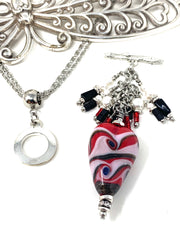 Lampwork Glass Swirl Beaded Dangle Necklace #2314D - Bead Dangle Design