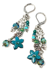 Painted Enamel Floral Beaded Chain Dangle Earrings #1155E - Bead Dangle Design