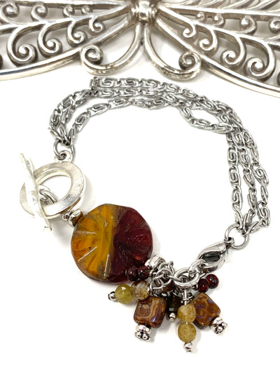Czech Fire Polished Glass Boho Interchangeable Beaded Dangle Bracelet #3238BC