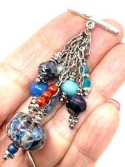 Lampwork Glass Beaded Dangle Pendant Necklace #2648D - Bead Dangle Design