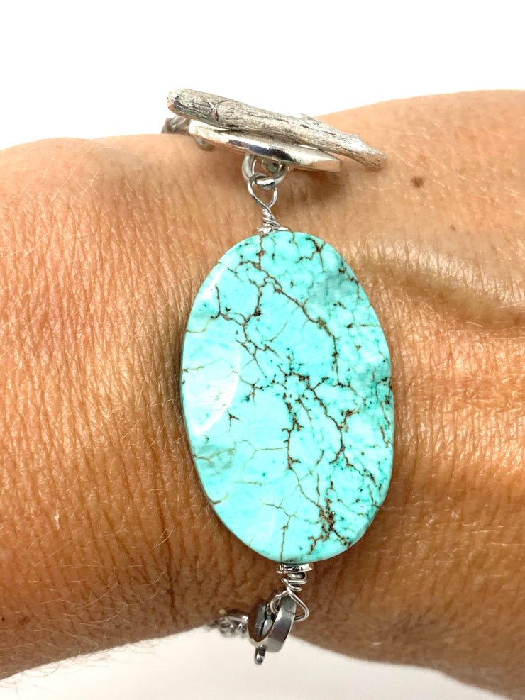 Chunky Turquoise Interchangeable Dangle Bracelet #3210BC - Bead Dangle Design