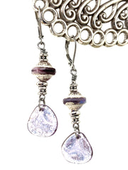 Czech White and Purple Pearlized Beaded Earrings #1134E - Bead Dangle Design
