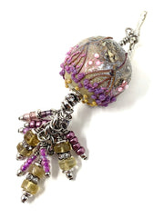 Beautiful Lampwork Glass Beaded Cluster Pendant #2627D - Bead Dangle Design