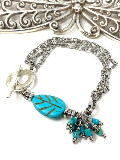 Turquoise Leaf and Crystal Interchangeable Beaded Dangle Bracelet #3236BC