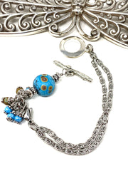 Textured Lampwork Glass Interchangeable Dangle Bracelet #3212BC - Bead Dangle Design