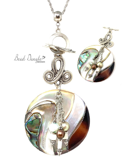 Chunky Abalone Fresh Water Pearl Beaded Dangle Necklace #3221D - Bead Dangle Design