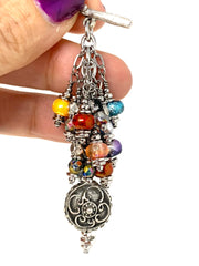 Boho Multi-Color Beaded Cluster Pendant Necklace #2695D - Bead Dangle Design