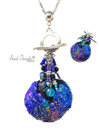 Polymer Clay Seed Bead Dangle Pendant Necklace #3137D - Bead Dangle Design