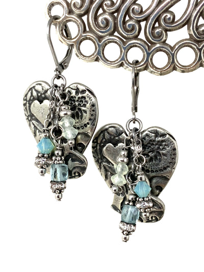 Solid Etched Pewter Heart Gemstone Beaded Dangle Earrings #1344E - Bead Dangle Design