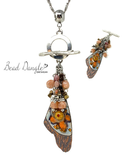 Boho Painted Enamel Beaded Cluster Pendant Necklace #2407D - Bead Dangle Design