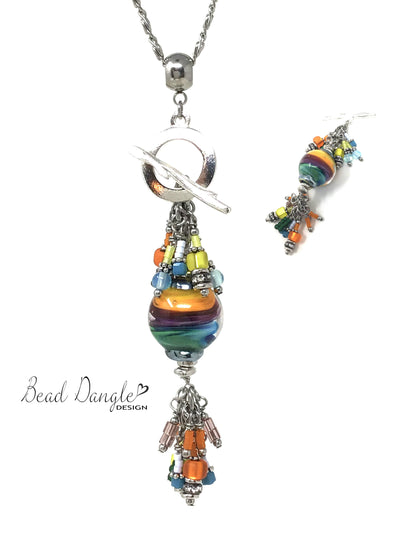 Handmade Lampwork Glass Rainbow Beaded Pendant Necklace #2373D