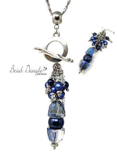 Blue Swarovski Pearl and Crystal Beaded Cluster Pendant Necklace #2458D