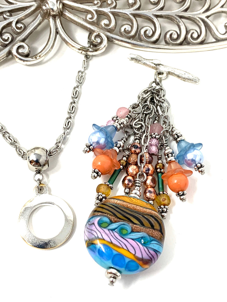 Colorful Boho Lampwork Glass Chain Beaded Pendant Necklace #2681D - Bead Dangle Design