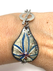 Hand Painted Enamel Copper Interchangeable Bracelet Pendant #3029BC - Bead Dangle Design