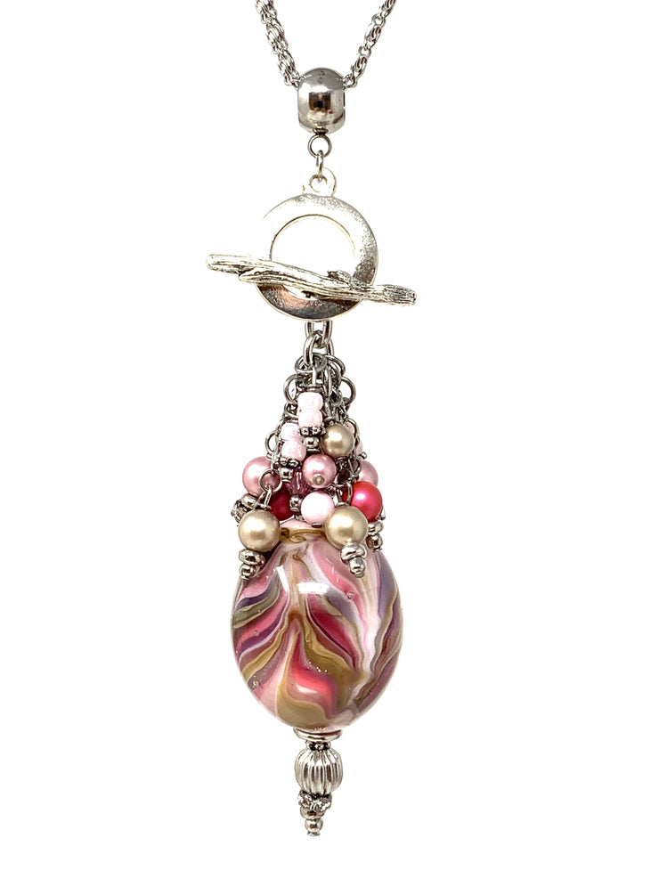 Pink Lampwork Glass Swirl Beaded Cluster Pendant Necklace #3113D - Bead Dangle Design