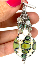 Lampwork Glass Beaded Dangle Cluster Necklace #2318D - Bead Dangle Design
