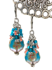 Czech Glass Floral Beaded Dangle Cluster Earrings #1153E - Bead Dangle Design